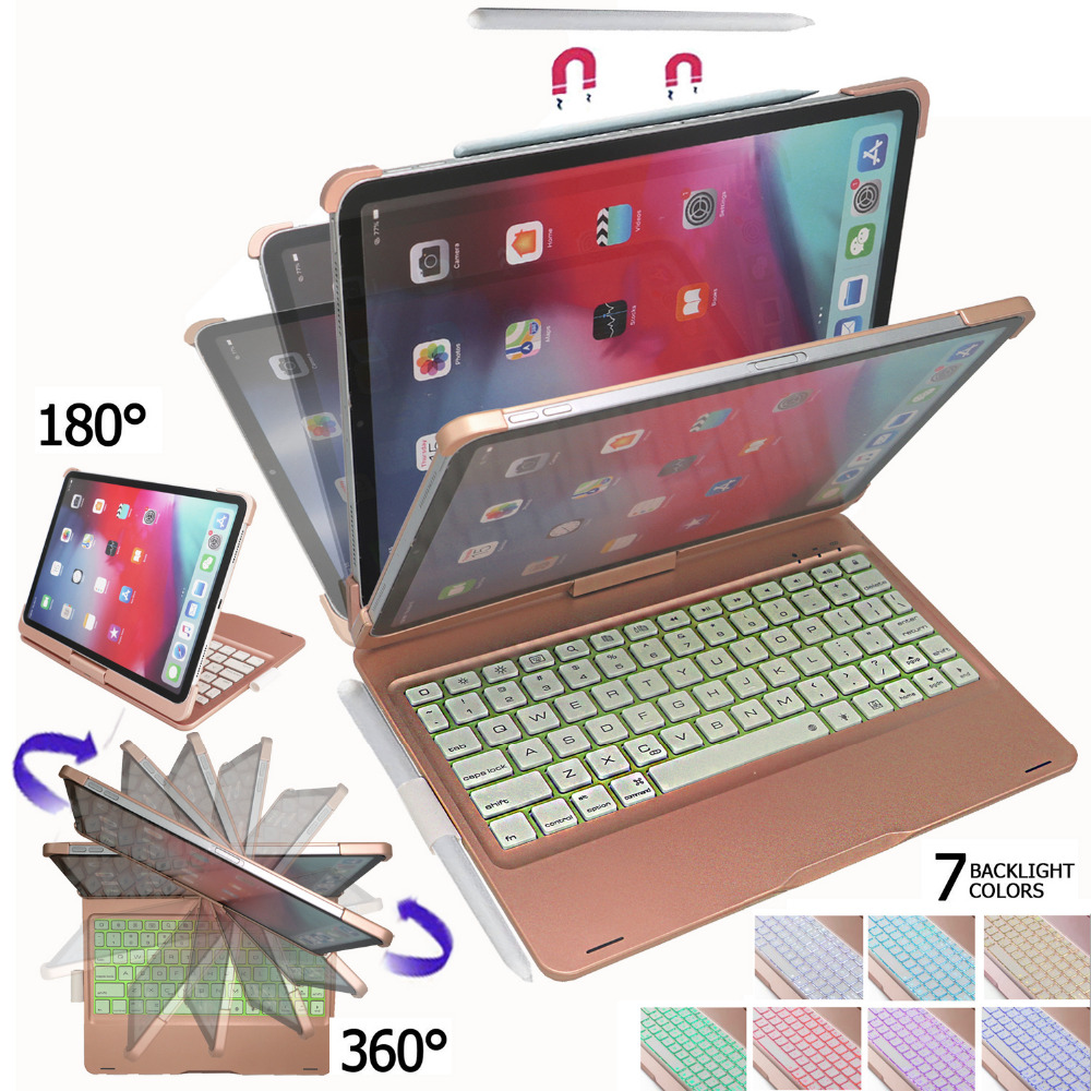 Keyboard Case for iPad Pro 11 inch 360 Degree Rotatable Stand with 7 Colors Backlit Keyboard