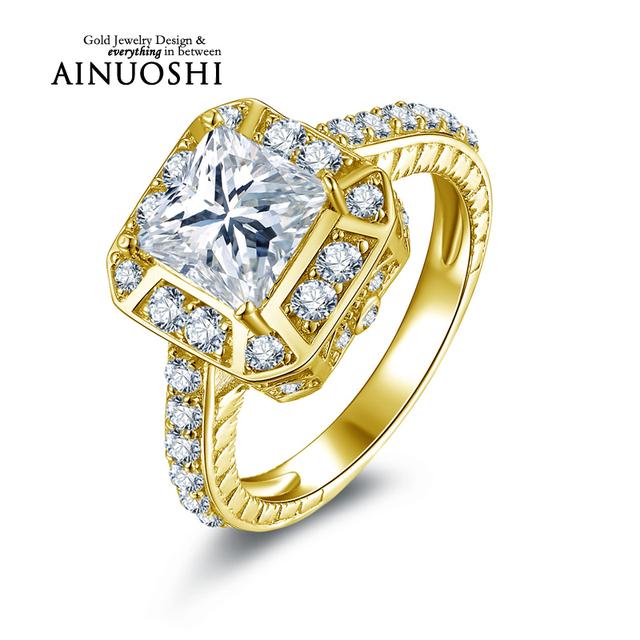 Ainuoshi 10 k sólido oro amarillo anillo de bodas 1.6 ct diamante simulado de compromiso joyería fina mujeres femme estándar anillos de dedo