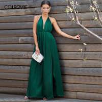 b069ea87ab3 COLROVIE пикантные высокий разрез Сатиновые платья-Макси Вечерние Платье  Для женщин с глубоким вырезом крест