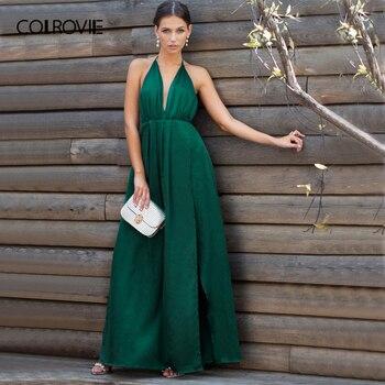 7e500d93f5 COLROVIE Sexy hendidura alta de Maxi vestido de fiesta mujer cuello redondo  Cruz 2019 verde abrigo sin mangas tirantes vestidos de verano
