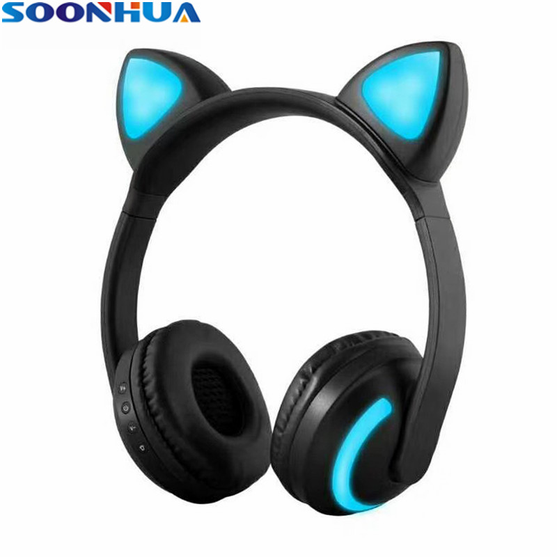 SOONHUA Cat Ear Headphones LED Ear Headphone Cat Earphone Flashing Glowing Headset Gaming Earphones For Adult