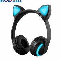 SOONHUA Cat Ear Headphones LED Ear Headphone Cat Earphone Flashing Glowing Headset Gaming Earphones For Adult