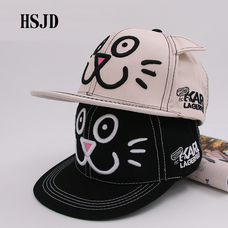 Cute Smiling Face Cat Ear Snapback Hat Summer Men Women Adjustable Embroidery Cat Ears Hip Hop Baseball Caps Casual Outdoor Cap