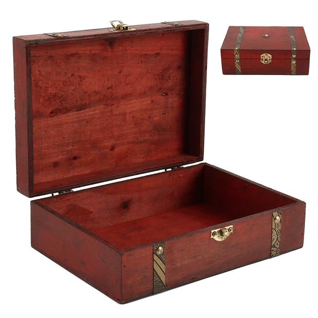 Hot Caso Caixa De Armazenamento De Jóias Organizador De Madeira Arca do Tesouro de Bloqueio Do Vintage Presente Anel