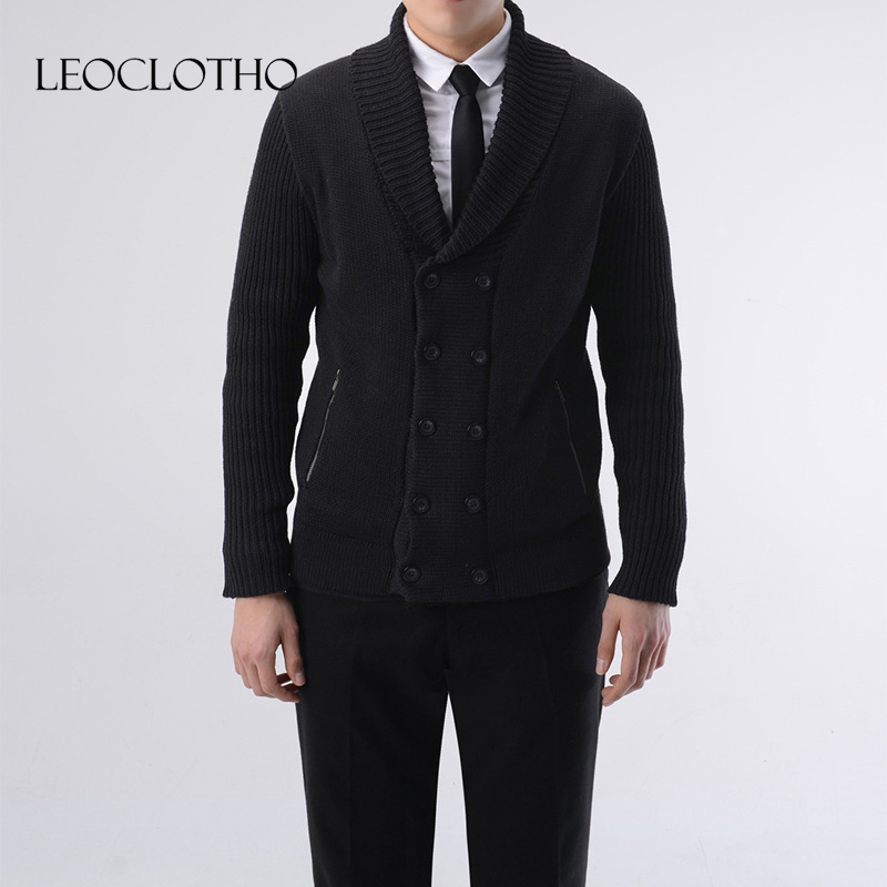 LEOCLOTHO 2019 New Men Fashion Sweater Coat Double-breasted Large Size Slim Fit High Quality V-neck Business Mens Sweater