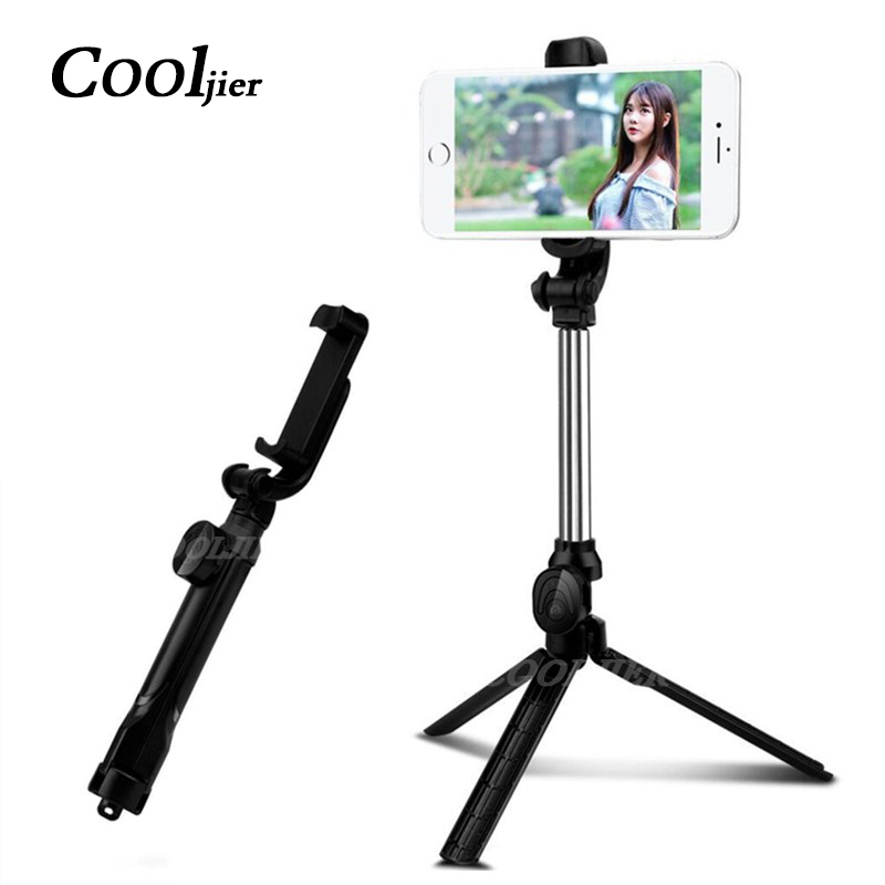 COOLJIER Bluetooth Selfie Stick Handheld Monopod Universal Mini Tripod For iPhone X 8 7 6 Foldable Wireless Selfie Sticks 2018 khp mini selfie stick tripod wired silicone handle monopod universal selfie stick for iphone android xiaomi selfie sticks