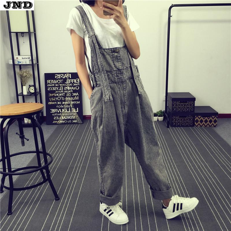 Free Shipping 2017 New Fashion Water Wash Stripe Cotton Denim Bib Pants Personality Women Plus Size Loose Jumpsuit And Rompers free shipping 2017 new fashion summer denim bib pants loose plus size 3xl jumpsuit and rompers women shorts cotton jeans casual