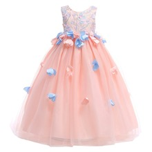 Elegant Flower Girls Wedding Bridesmaid Dress for Kids Tulle Ball Gown Birthday Party Princess Dress Pleated Long Girls Dress цена и фото