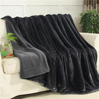 Dark Gray Double layer Blanket 200*230cm Thick Throw Blanket on Sofa Bed Plane Travel Plaids christmas decorations for home