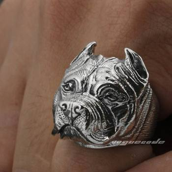 Sólida plata 925 Pitbull Pit Bull perro hombres Biker Rocker Punk anillo 8E010 tamaño de EE. UU. 7 a 15
