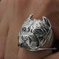 Solid 925 Sterling Silver Pitbull Pit Bull Dog Mens Biker Rocker Punk Ring 8E010 US Size 7 to 15
