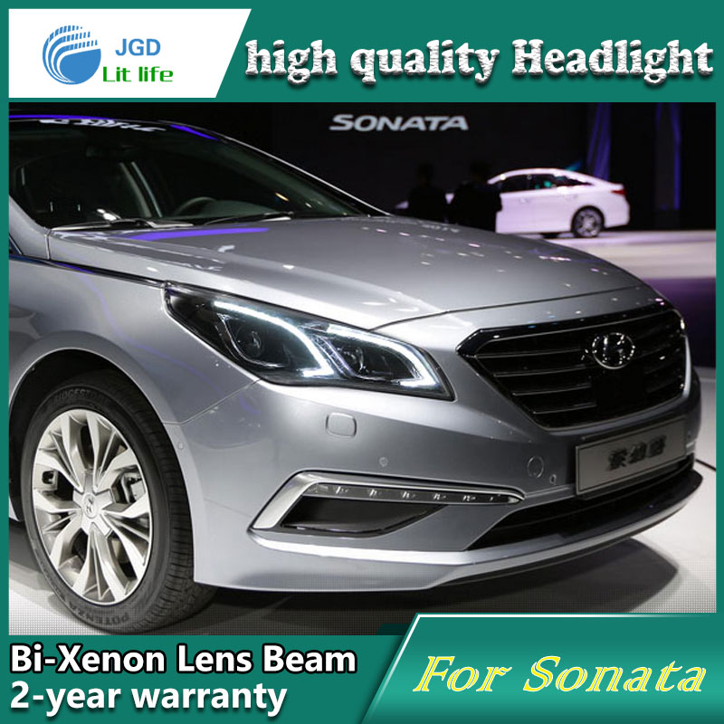 Car Styling Head Lamp case for Hyundai Sonata 9 2015 2016 Headlights LED Headlight DRL Lens Double Beam Bi-Xenon HID Accessories new headlight headlamp left right for hyundai sonata 8 head led light bar drl 2011 2015 h7 bi xenon