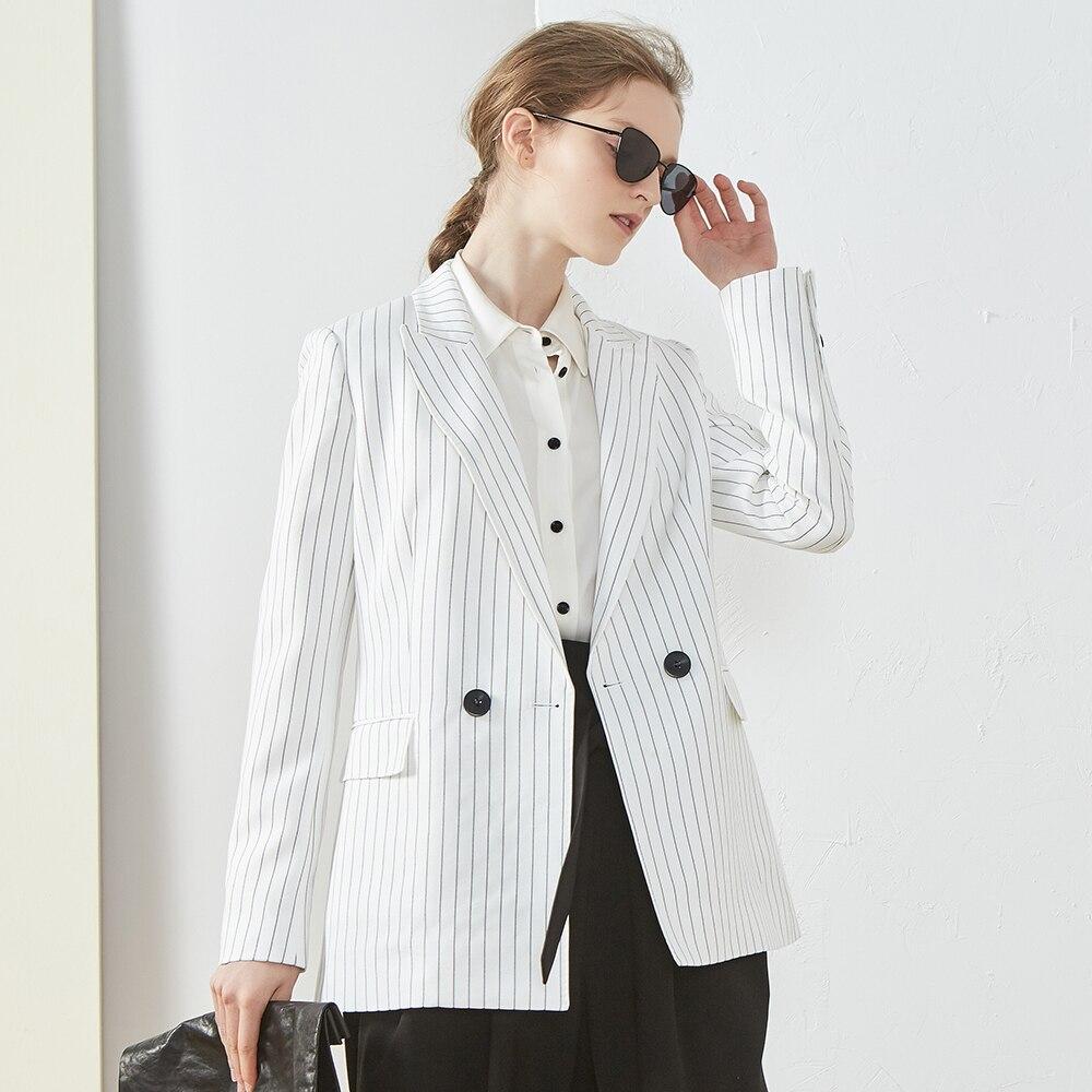Пиджаки Для женщин костюм в полоску 97% вискоза двойной Breated с длинным рукавом карманы дамы Повседневное Стиль пальто Mujer 2018 Новая мода