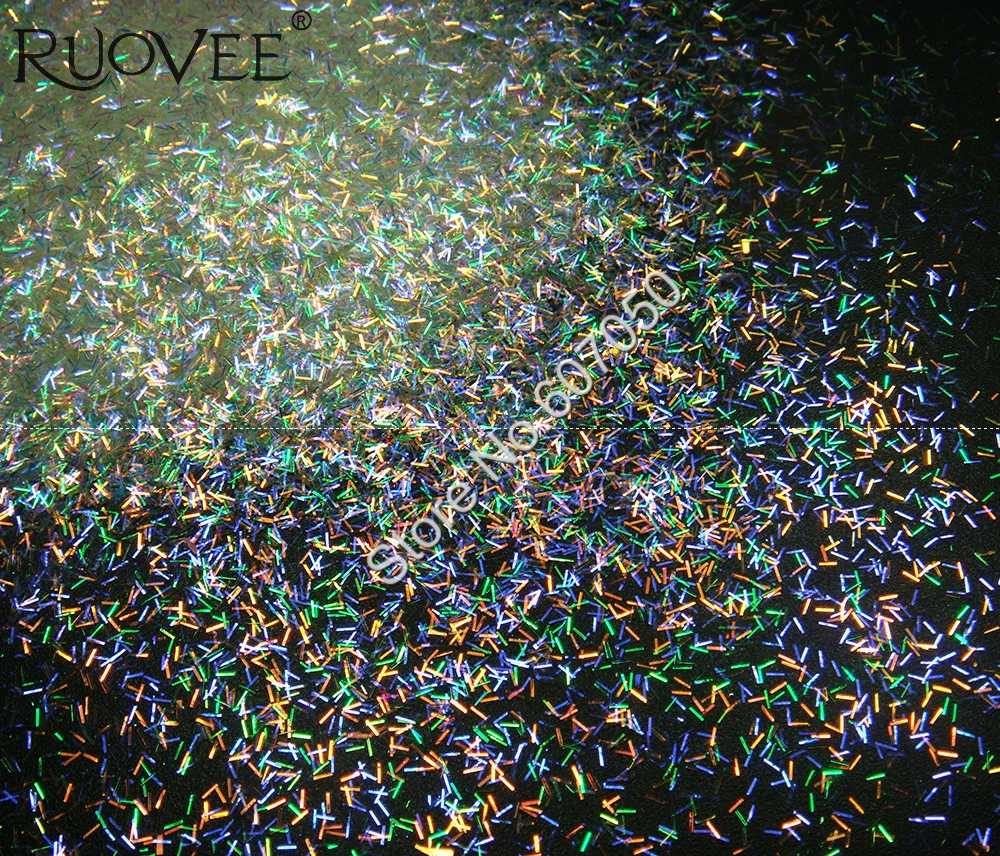 玉虫色ホワイトグリッターショートストリップバー形状カラフルな紫ゴールドグリーンライトの色合いネイルグリッターアートクラフト装飾