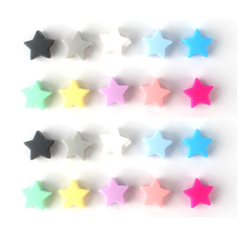 500pcs 14mm colourful star Silicone Beads BPA Free Baby Nursing Chewable Teething Beads Pacifier Teether DIY Necklace