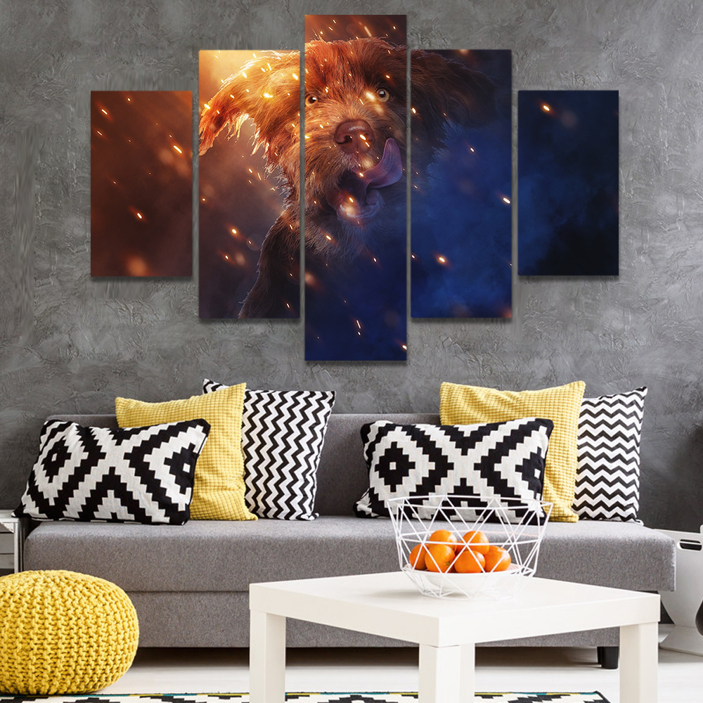 Unframed Canvas Painting Bright Brown Schnauzer Dog Picture Prints Wall Picture For Living Room Wall Art Decoration Dropshipping
