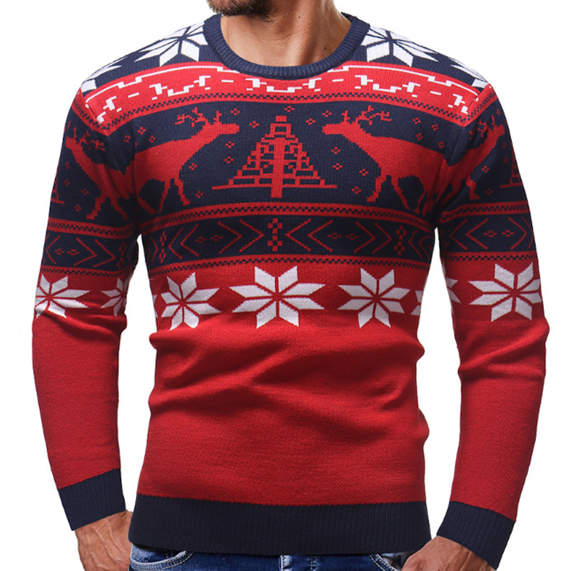 Autumn Pullover Men Sweaters 2019  Winter Pullover Knitted Cotton Printed Christmas Sweater Men Slim Long Sleeve Clothes 2XL