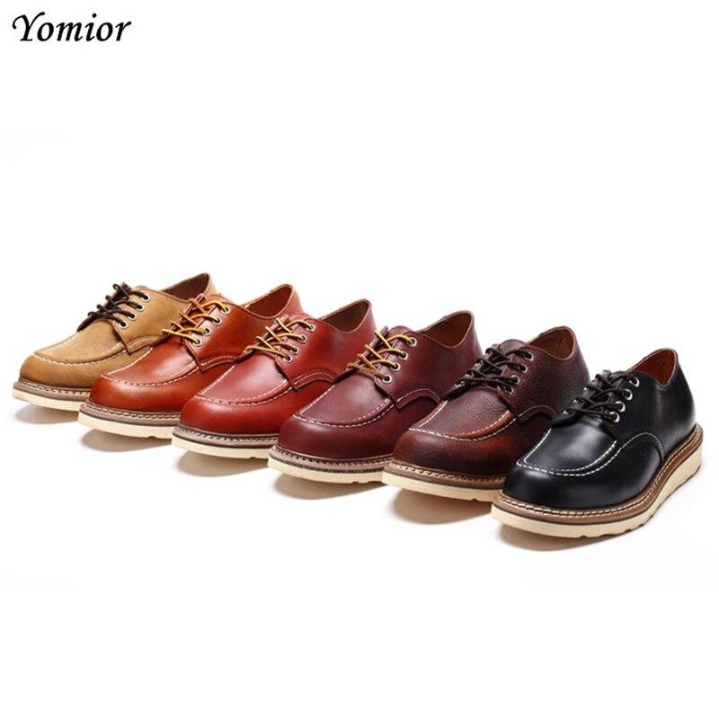 Ручной работы Для мужчин модные рабочие ботинки в британском стиле из коровьей кожи крыло Мужские ботинки обувь из натуральной кожи Элитны