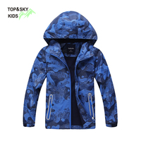 TOPSKY Brand Waterproof Windbreaker Boys Jacket Thick Outerwear Child Camping Hooded Coat Kids Outdoor Sports Clothing