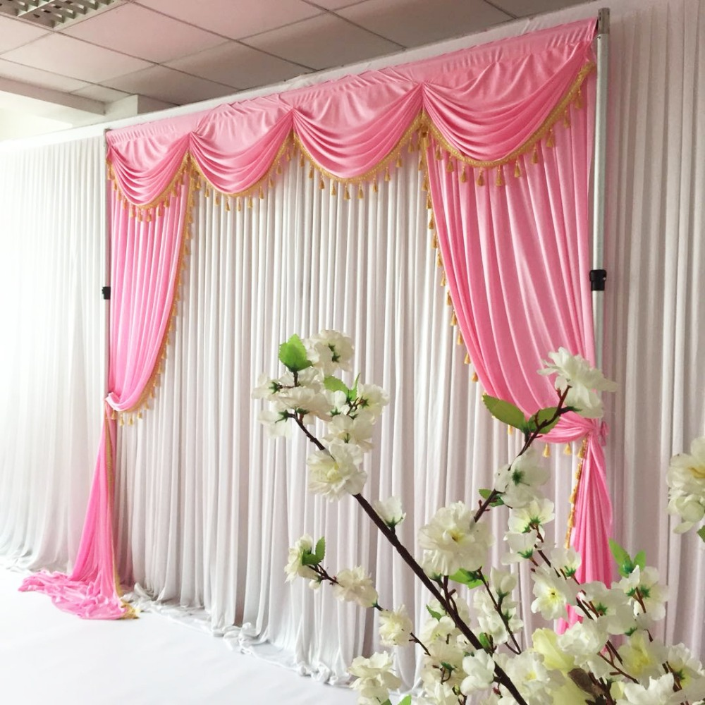 2018 New Design Arriaval White Wedding Backdrop Nomantic Swag Drapes ...