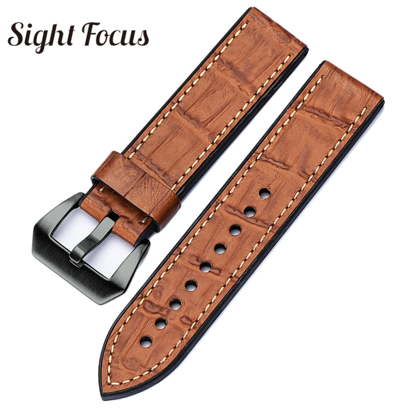 c6976647d3e Top Leather Bottom Rubber Watch Band Strap For Watch Belt Men 20 22 ...