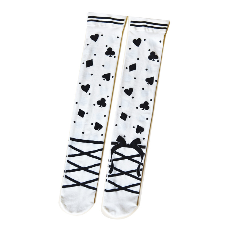 Dancing Alice Patterned Long Stockings Cute Lolita Stockings
