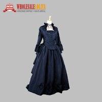 Черный готический викторианской платье гражданская война реконструкциями/исторически тематические события