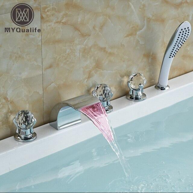 Cambiare La Vasca Da Bagno In Doccia.Moda Colore Led Cambiare Cascata Bagno Rubinetto Vasca Diffuso 5 Pz