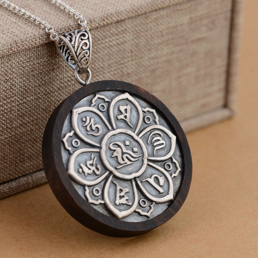 FNJ 925 Silver Buddha Pendant New Fashion Ebony wood 100% Pure S925 Solid Thai Silver Pendants for Women Men Jewelry Making