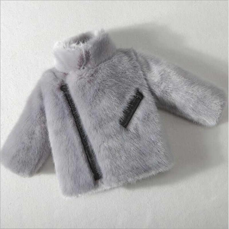 2018 ילדים כותנה פו פרווה מעיל חורף קוריאני בני ובנות חיקוי פרווה מעיל עיבוי קטן תינוק סוודר מעיל QV195
