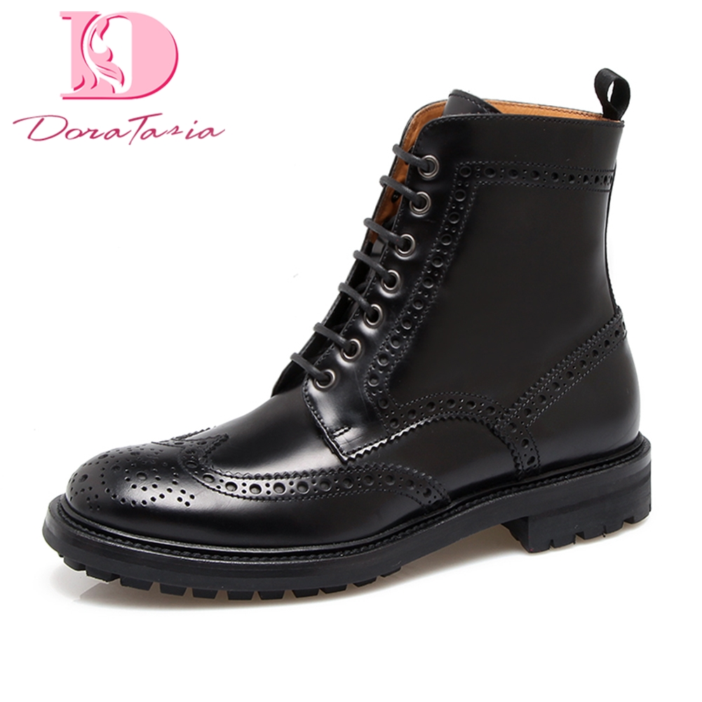 DoraTasia 2018 Genuine Leather Hot Sale Woman Shoes Fashion Black Ankle Boots womens brogue shoes retro boots womanDoraTasia 2018 Genuine Leather Hot Sale Woman Shoes Fashion Black Ankle Boots womens brogue shoes retro boots woman
