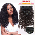 Double drawn full head One piece clip in black Hair Deep Curly Clip in virgin human Hair Extension 9pcs/set