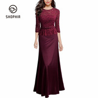 Long Sleeve Solid Color Bridesmaid Long Dress Slim Elegant Silky Lace Party Club Lady Dresses O