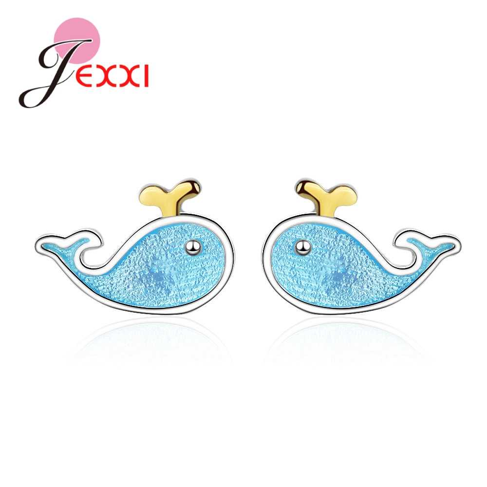 Adorable Small Blue Dolphin Shaped Real 925 Sterling Silver Stud Earrings Brincos Jewelry For Girls Women Birthday Gifts