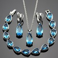 Lan Water Drop Sliver Planted Jewelry Sets Blue  AAA Zircon For Necklace Pendant /Earring /Bracelet  Wedding/Birthday/Party