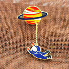 Astronaut Planet Brooches