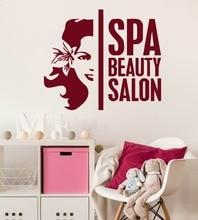 Girls Beauty Salon Wall Decal Spa Salon Wall Stickers Vinyl Removable Woman Flower Pattern Body Spa Interior Windows DecorSYY922