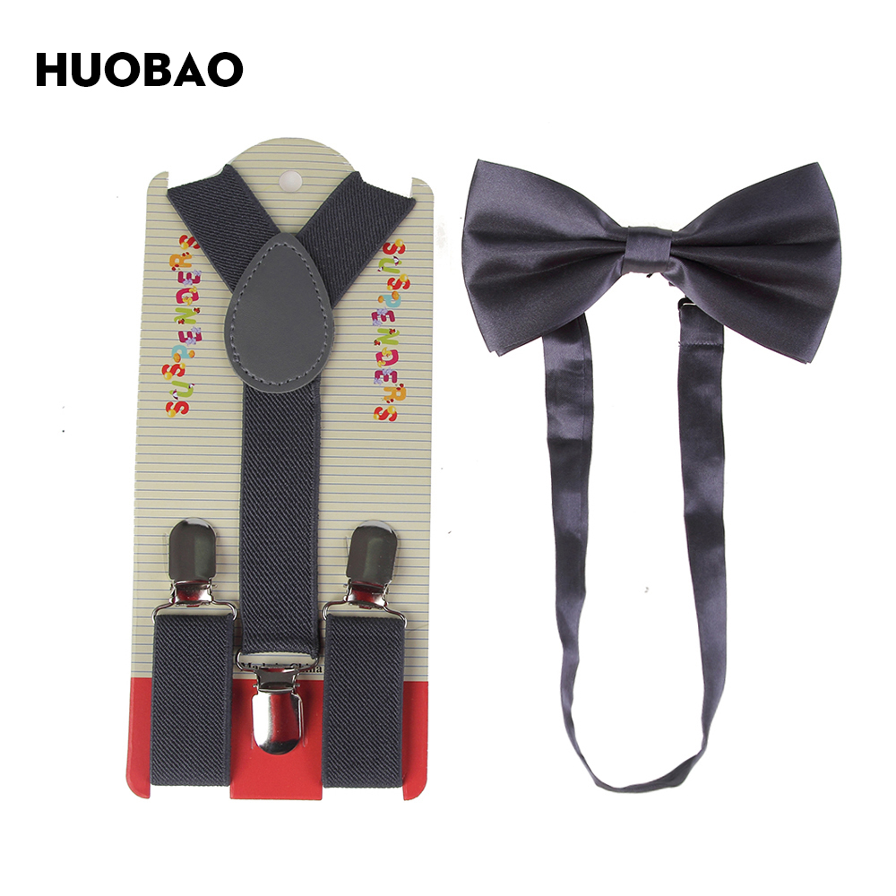 HUOBAO 2019 New Kids Children Dark Grey Solid Color Suspender And Bow Ties Sets For Boys