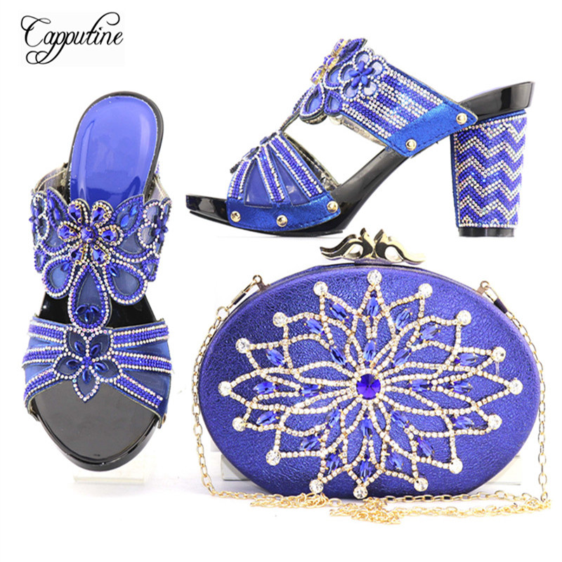Capputine New Arrival Italian Blue Color Shoes And Bag Set For Wedding Party African High Heels Shoes And Bag Set Size 38-42 african lady shoes and bag matching set for high quality for sky blue size 38 42 beautiful plum italian shoes and bag wow36