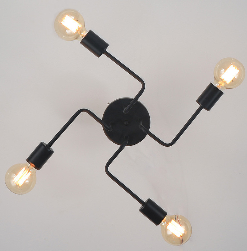 Wrought iron 4 heads 6 heads 8 heads Multiple rod ceiling dome lamp  personality retro cafe bar and drawing room ceiling light multiple chandelier black white bedroom living room wrought iron chandeliers 5 6 8 heads personality lamp zag