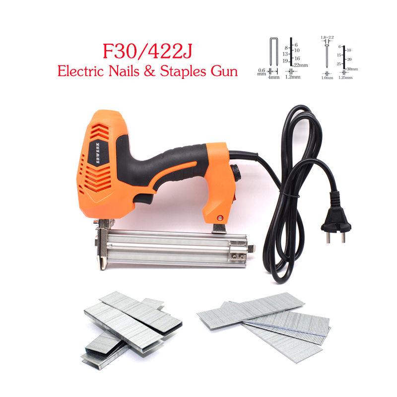 18 Gauge 2 In 1 Electric Brad Nailer And Stapler Gun With 300Pcs Staples And 300Pcs