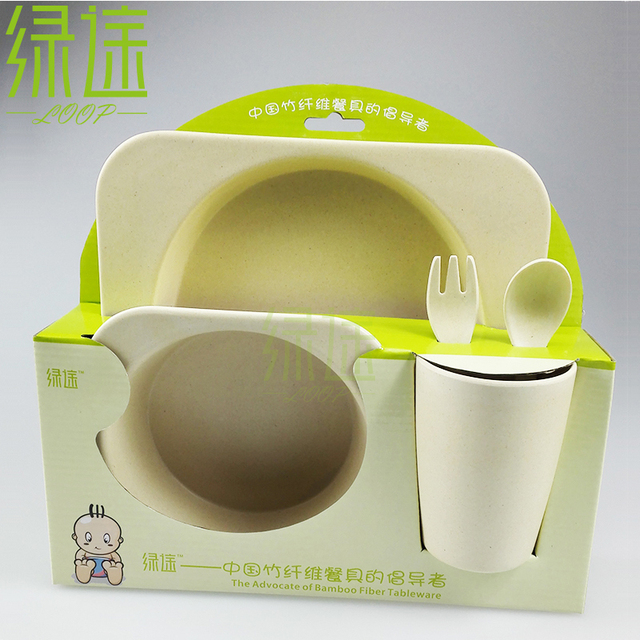 New bamboo fiber dinnerware totally 100% degradable safe tablewares childrenu0027s lunch box pure color child & New bamboo fiber dinnerware totally 100% degradable safe tablewares ...
