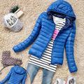 2016 New Arrival Moda Tops Mulheres Roupas de Inverno Quente Casaco Com Capuz Zipper Casual Esporte Fino Doce cor do Revestimento do Revestimento