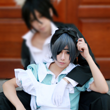 Anime Black Butler Ciel Phantomhive cosplay wig fashion women men s Short gray and blue mixed