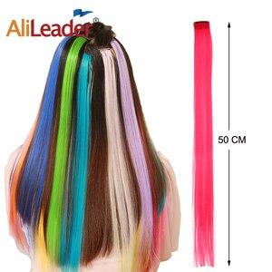 Alileader, накладные волосы на клипсах, 50 см, прямые Длинные Синтетические волосы для женщин и девочек, радужные, 57 цветов, 12 г/шт.