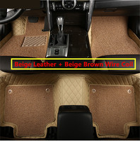 For Peugeot 308 2015 2018 Floor Mats Auto Foot Carpets Step Mat High Quality Embroidery Leather Wire coil 2 Layer