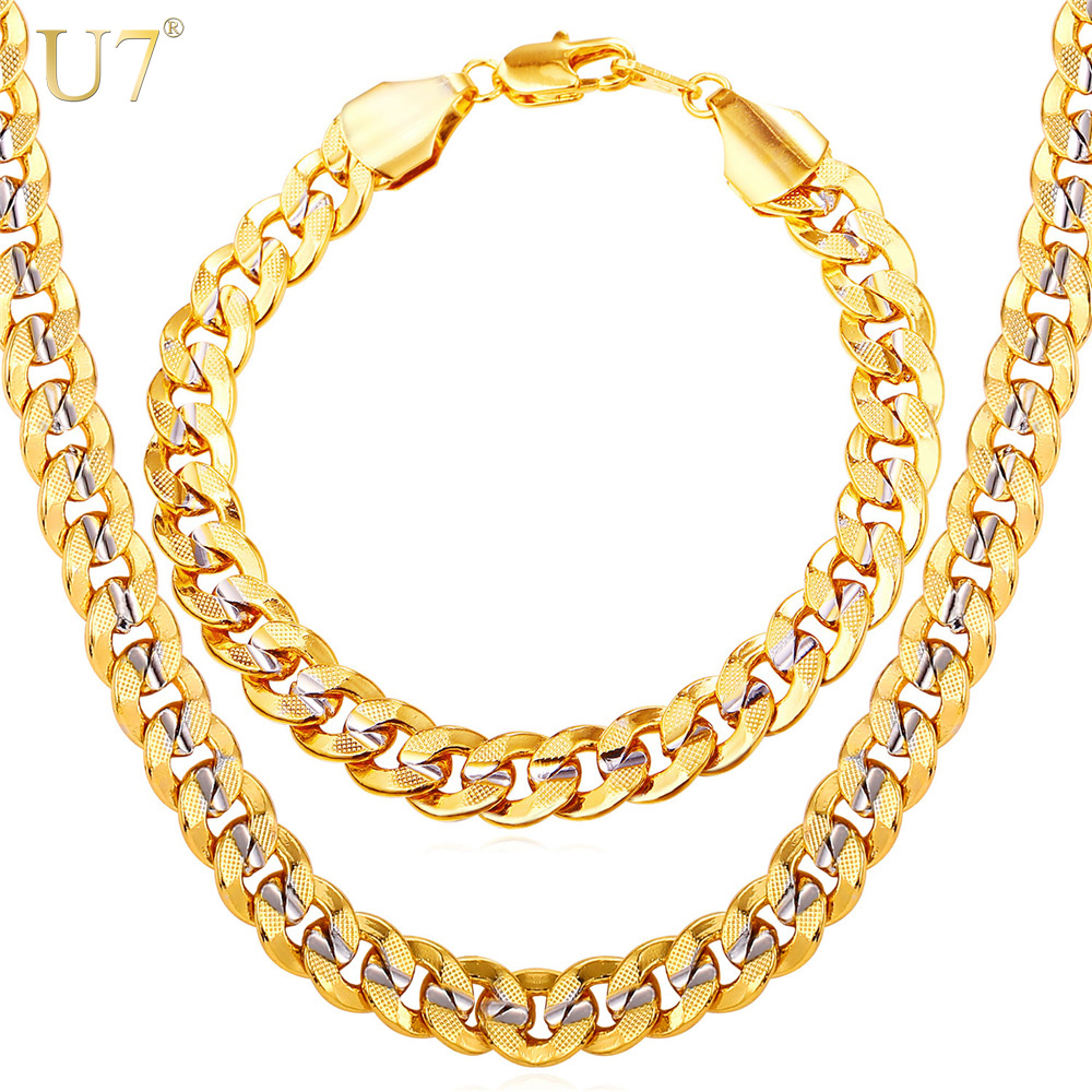 U7 Men Jewelry Set Two Tone Color Oro Hip Hop Trendy 9MM Chunky Big Catena a maglia cubana Collana e bracciale Set S823