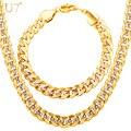 U7 two tone banhado a ouro set jóias partido jóias masculinas new trendy 9mm elo da cadeia cubano colar pulseira homens s823