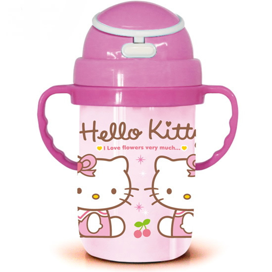 Free shipping 10 pcs/lot,  350ml Children's kettle 2013 New KITTY design water jug Plastic straw cup, Wholesale water bottle