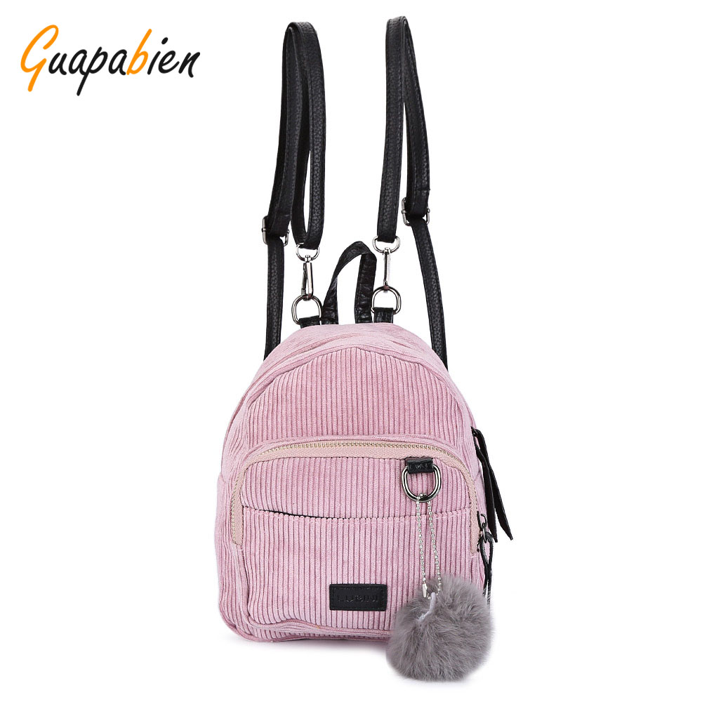 Guapabien Preppy Pink Cute Girl School Backpack Furry Ball Corduroy Small Mini Backpack for Teenagers Women Back Pack schoolbag corduroy goes to school
